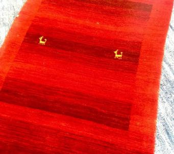 Spectacular red Gabbeh Tribal area Rug