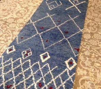 "Beni Ourain Moroccan Runner rug 2'.9"" x 10' Blue"