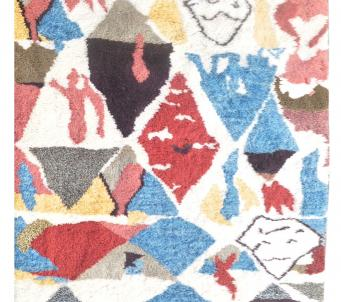 Beni Ourain Moroccan area rug 5' x8' soft shaggy pile
