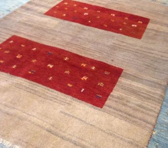 Persian tribal Thick Gabbeh Rug Red Iran Shiraz hand knotted 6' X 8' Authentic