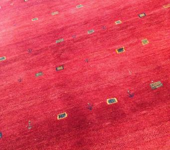 7' x10' Authentic Persian Gabbeh Thick red with variations