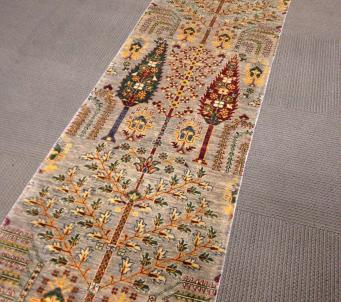 Tree of life 10' runner hand knotted rug