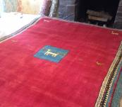 Persian tribal Thick Gabbeh Rug Red  6' x9'Iran Shiraz hand knotted Authentic