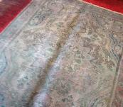 Old Persian Tabriz rug 3' x 5' faded gray vintage