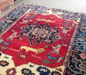 Meusum rug . Interesting vintage Persian Serapi 8 x10